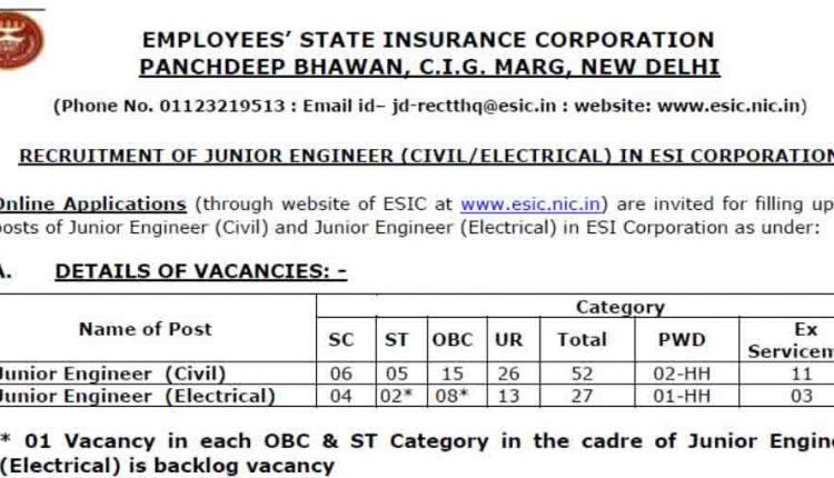 ESIC Delhi Junior Engineer (Civil- Electrical) Recruitment 2018-19